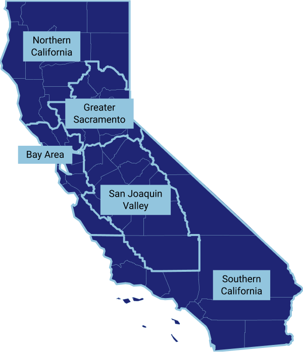 Map showing the 5 regions being measured by CDPH for ICU actual capacity: Northern California, Bay Area, Greater Sacramento, San Joaquin Valley, and Southern California.