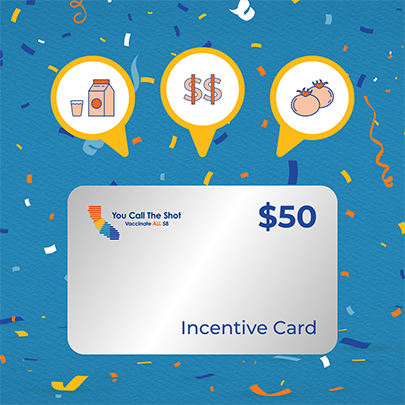 Illustration of a $50 incentive card and what you could get with it: groceries, vegetables, and cash