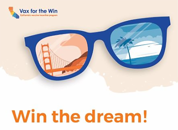 Illustration of California landmarks reflected in sunglasses with text WIN THE DREAM!