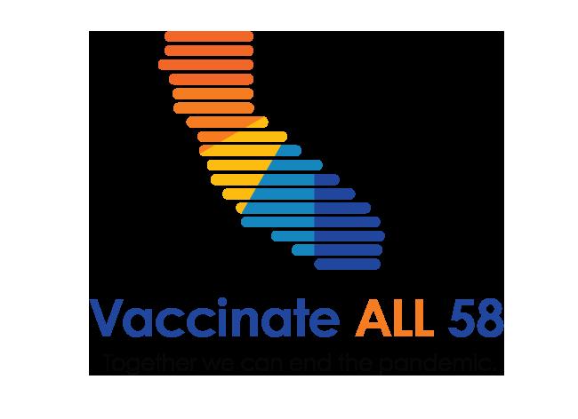 Bản đồ của California với dòng chữ Vaccincate ALL 58 - Together we can end the pandemic (Chủng Ngừa tại TẤT CẢ 58 Quận - Cùng nhau, chúng ta có thể chấm dứt đại dịch).
