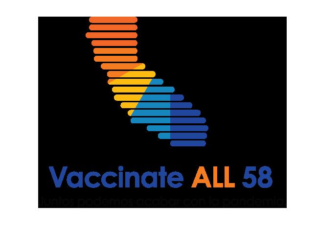 Mapa de California con el texto Vacuna PARA TODOS 58 - Juntos podemos poner fin a la pandemia.