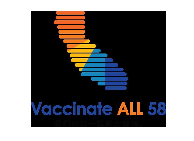 帶有Vaccinate ALL 58 - Together we can end the pandemic(為全州58個縣接種疫苗 — 萬眾一心,終結疫情)字樣的加州地圖。