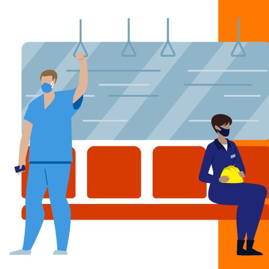 Hình minh họa một người đàn ông và một người phụ nữ đeo khẩu trang khi đi tàu
